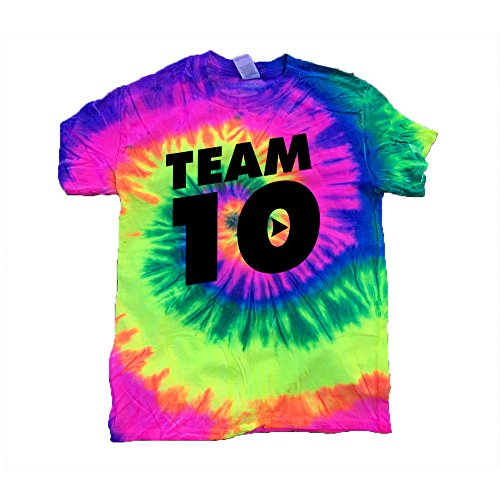 JasCouplesApparels Tie-Dye Kids T-Shirt Black Design Team 10 Tie Dye