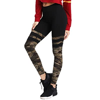 Yoga Capris, Leyorie Girl Camo Stitching Sport Pants Fitness Leggings Running Stretch Camouflage Trouser