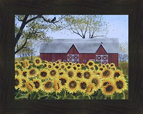 cobs 16x20 Red Barn Farm Sunflowers Flowers Framed Folk Art Wall Décor Picture ()