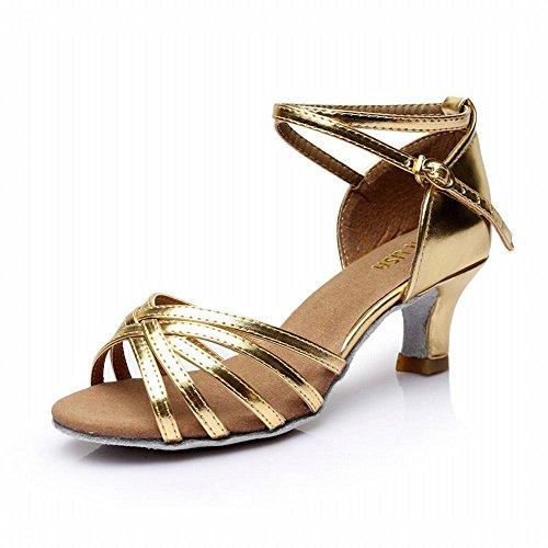 BYLE Tobillo Sandalias de Cuero Zapatos de Baile Modern Jazz Samba Presidente Adulto Trenzado Clásico Fondo Blando Satinado Alto Talón Zapatos de Baile Latino de Oro de Baile Social 5CM Onecolor