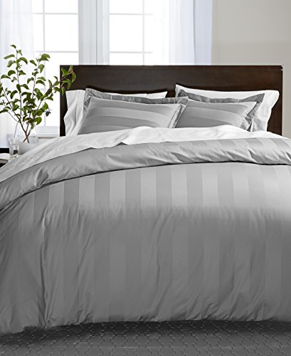 Charter Club Damask Stripe Full Queen Duvet Cover, 100% Supima Cotton 550 Thread Count Smoke ()