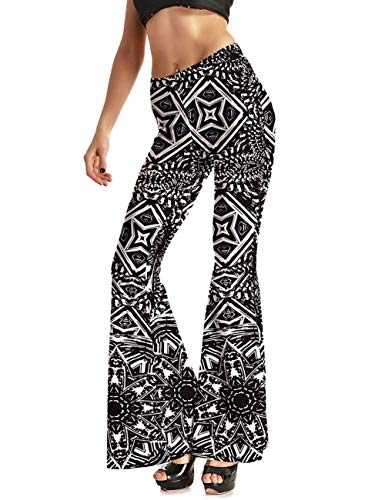 (GRACIN Women's 70's Costume Bell Bottoms, Digital Printed Disco Party Boho Flared Pants (X-Large,)