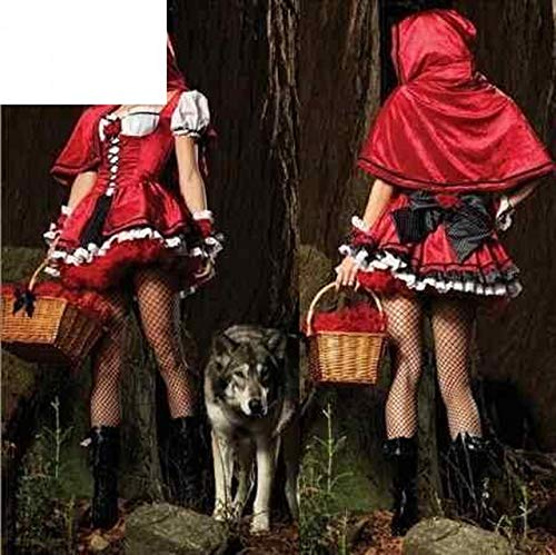 DecorFav Creative Style Newly Fashion Red Sexy Halloween Costume for Women Party Time Deluxe Little Riding Hood