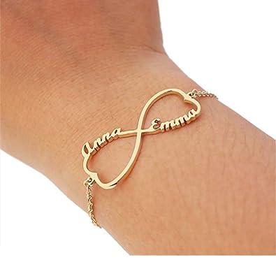 58e96abcf3e74 Amazon.com: Personalized 925 Sterling Silver Heart Infinity ...