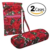 Red Roses Combo - hard shell eyeglasses case + sunglasses wristlet pouch w/cleaning cloth