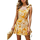 BMJL Women's Zipped Floral Sleeveless Slim Backless A Line Slip Ruffle Tie Short Mini Dress (X-Large, Yellow&Floral)