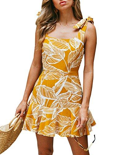 - bmjl Women's Zipped Floral Sleeveless Slim Backless A Line Slip Ruffle Tie Short Mini Dress (Small, Yellow&Floral)