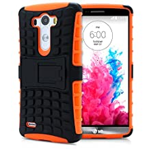 LG G3 Case, MagicMobile® Hybrid Heavy Duty Shockproof Armor Impact Dual Hard Black Plastic Layer and Orange Flexible TPU Skin Cover with Kickstand [Free Screen Protector Film and Stylus]