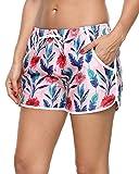 Sociala Womens Gym Shorts with Pockets Drawstring Swimwear Bottoms Off White XL