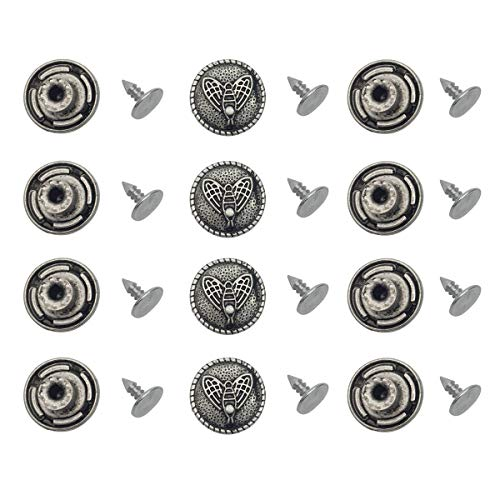 Jeans Denim Patterns - 12Sets Bees Patterns Metal Tack Jeans Buttons Denim Buttons Snap Buttons Replacement Kit Studs Snap with Rivets for Jackets Jeans (#3)