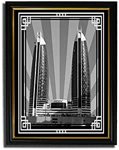 Photo of Damac Tower-Black And White With Silver Border No Text F08-M (A2)
