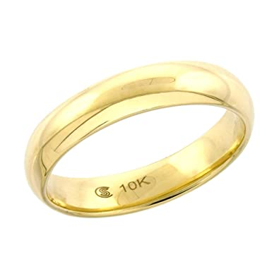 Amazon 10k Yellow Gold Wedding Band 3 7 mm Thumb Ring Hollow