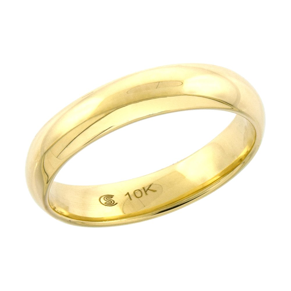 10k Yellow Gold Wedding Band 3.7 mm Thumb Ring Hollow Comfort Fit, size 5