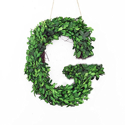 Personalized Door Wreath (Modern Home BOXWOODLETTERS-G, 12