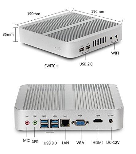 Kingdel Fanless Mini Computer, HTPC with Intel i5 5th Gen. CPU, 8GB RAM, 128GB SSD, 4xUSB 3.0, HDMI, WiFi, Metal Case, Windows 10 Pro by KINGDEL (Image #2)