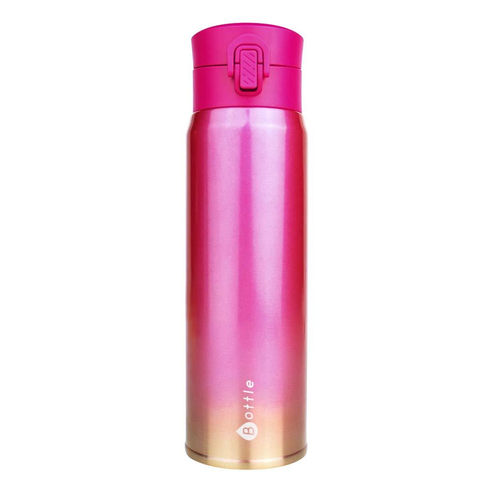Petfu Borraccia Termica - Bottiglia Isotermica con Chiusura Ermetica - Borraccia Acciaio Inox Doppio Strato, BPA Free Bottiglia, Operazione con Una Sola Mano, 450ml, Rosa