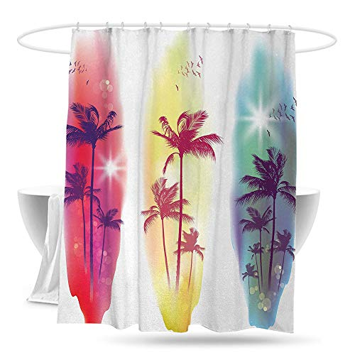 huangfuzz Tropical Bathtub Splash Guard Palm Trees Birds Seagulls Pattern Silhouette Surfboards Seascape Waterproof Colorful Funny 70in×70in Purple Fuchsia Light Yellow