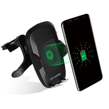 Cargador Inalámbrico Coche, 2-en-1 Qi Inalámbrico Cargador Teléfono Soporte de Salpicadero para Samsung Galaxy S8,S8 Plus,S7 Edge,S6 Edge Plus,Note 5, ...