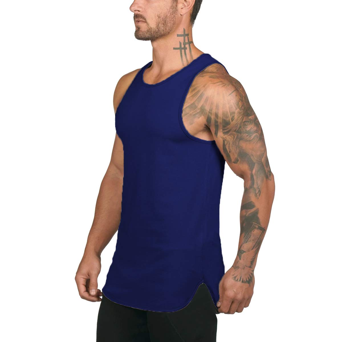 4Clovers Mens Workout Tank Top Sleeveless Muscle Tee Shirt Cotton Gym Training Bodybuilding Vest