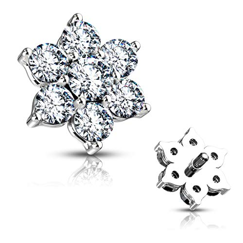 MoBody 14G Clear CZ Flower Dermal Anchor Top Surgical Steel Internally Threaded Dermal Anchor Body Piercing Top (Clear)