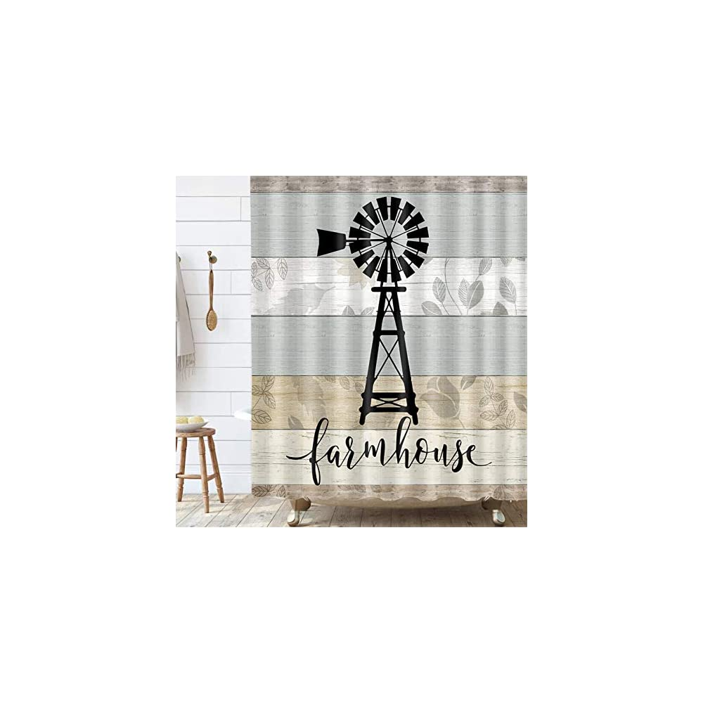 Farmhouse Windmill Shower Curtain, Teal Grey Vintage Rustic Wooden Plank Bathroom Curtain, Country Wooden Plank…