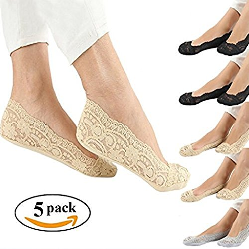 Wummly Women No Show Socks Lace non-skid, Antiskid Low Cut Socks ( pack of 5 )