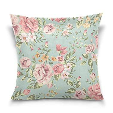 ALAZA Shabby Chic Vintage Floral Cushion Pillowcase,Cotton Velvet Square Throw Pillow Case Decorative Cushion Cover Pillowcase Cushion Case for Sofa,Bed,Chair,Auto Seat,(16x16inch) Twin Sides