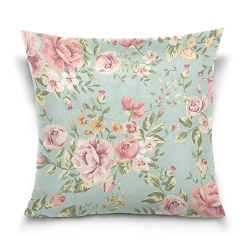 ALAZA Shabby Chic Pink Floral Cushion Pillowcase,Sofa Bed Pillow Case Cover(20x20inch) Twin Sides