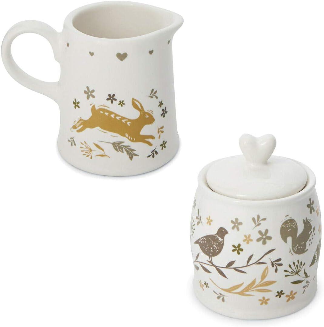 Cooksmart Woodland Animals Ceramic Milk Cream Jug Creamer /& Sugar Pot Jar Set