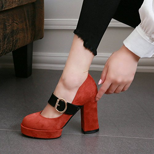 Decorative Heel Buckle Waterproof Belt Suede Shallow Shoes Autumn Thick Spring Heels Platform Single Rough High Women Head And Round Brick red Bottom Shoes KPHY wfxqAITFUU