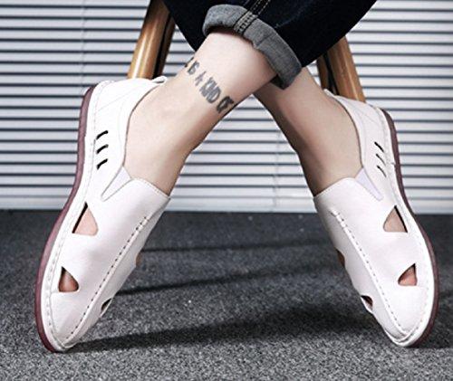 Low Cut Grande Décontractées Pour Pour Plage Anti Air Hommes Plein Sandales Blanc De Creux Paresseux ShoesZHANGM D'été Chaussures Chaussures Pieds De Ensembles dérapant En Cuir Mode Taille En Baotou Hommes H6UwRx4q