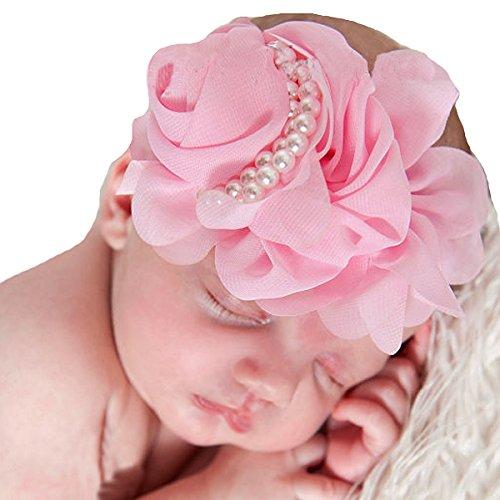Miugle Baby Girls Flower Headbands Infant Pearls Hair Bows Toddler Headdress ()