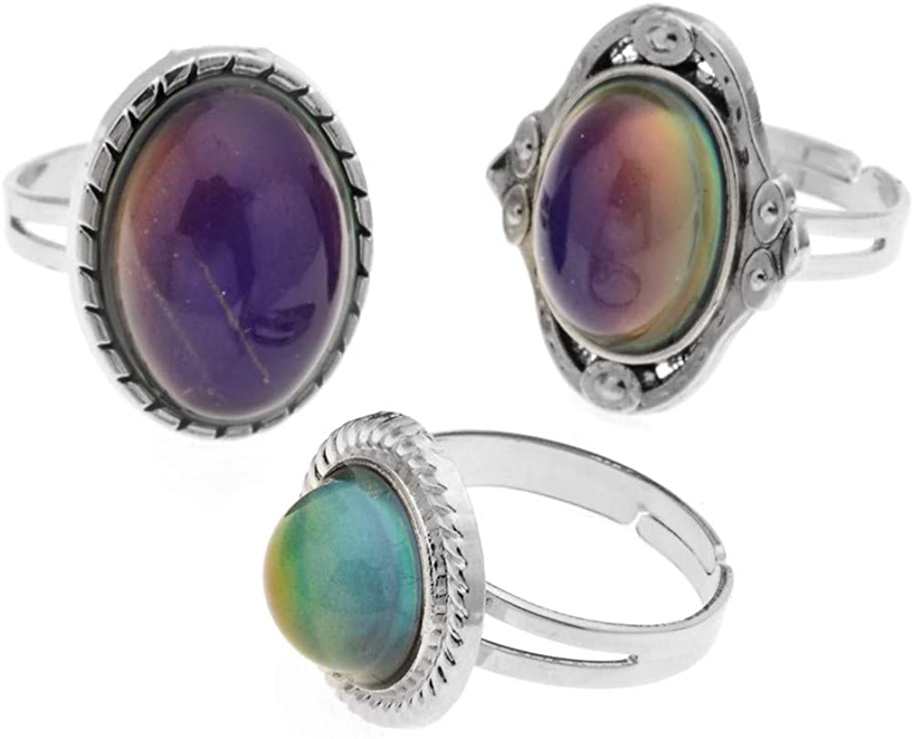 LUBINGSHINE 3Pcs Mood Ring Adjusable Size Original Oval Color Changing Ring Set Ring Jewelry