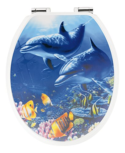 Sitzplatz 40123 4 Toilet Seat with Soft-Closing Comfort with 3D Dolphins Motif by (Dolphin Motif)