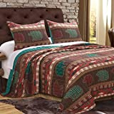 Finely Stitched Quilt Set Cabin Lodge Rustic Bedding Wildlife Wilderness Printed Pattern Reversible Comforter Coverlet Bedspread 3 Piece with Shams Single Twin Size - Includes Bed Sheet Straps