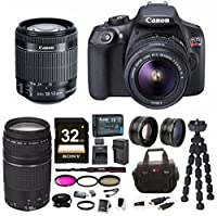 Canon EOS Rebel T6 18.0 MP DSLR Camera w/ EF-S 18-55mm & EF 75-300mm Lenses + Bundle