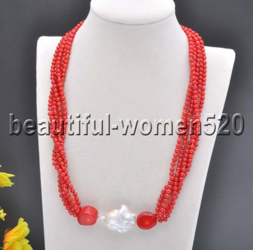 White Pearls Pink Coral Necklace - RED NECKLASE X0494 Set 5Strds Red & Pink round Coral White keshi pearl Necklace & Bracelet