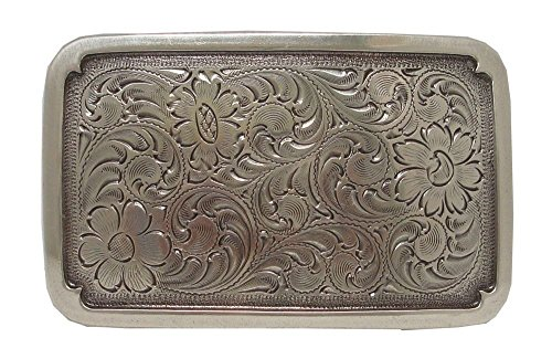 Angelwing Engraved Rectangular Frame Sterling Silver Plated Western Belt Buckle (Buckle Skimmers)