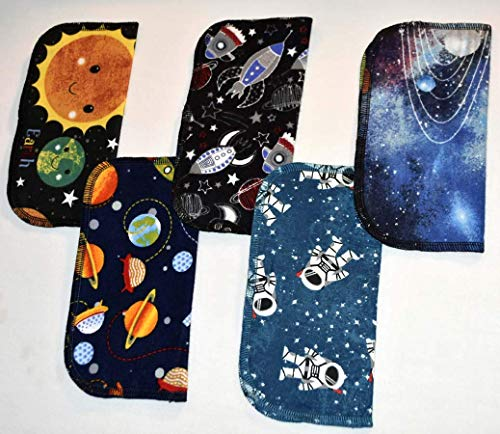 2 Ply Printed Flannel Washable. Out of This WORLD- Set Napkins 8x8 inches 5 Pack - Little Wipes (R) Flannel