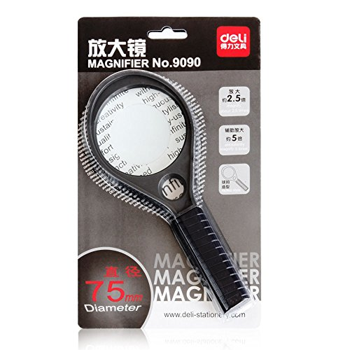 ANHPI Handheld Magnifier Family Office Magnifier Seniors Reading Newspaper Reading (2.5X/5X),Black-80198mm by ANHPI (Image #2)
