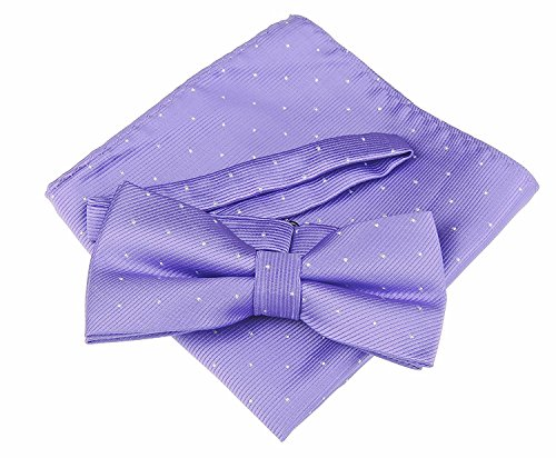 Fine Bow Silver amp; in Lilac over Print Black Men's Wedding Groom 20 Tie Tie Flocked Colours Purple Luxury Set Square Pocket Glitter Evening xwfO0pqYP