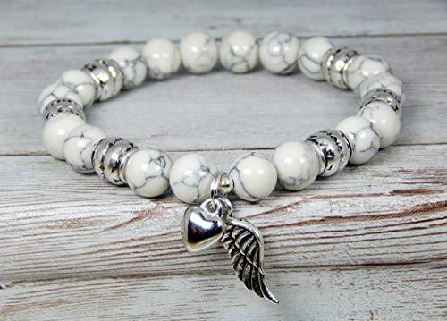 (Angel Wing Bracelet Spiritual Bracelet White Remembrance Gemstone Beaded Natural Jewelry)