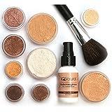 iQ Natural Mineral Makeup Starter Kit â Powder Brush, Silk Primer, Mineral Foundation, Setting Veil, Bisque Concealer, Bronzer + Eye Shadow for Flawless Bare Looking Skin, Full Set (Dark)