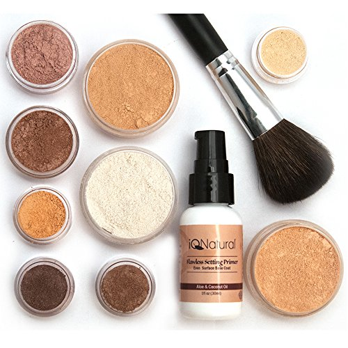 iQ Natural Mineral Makeup Starter Kit â Powder Brush, Silk Primer, Mineral Foundation, Setting Veil, Bisque Concealer, Bronzer + Eye Shadow for Flawless Bare Looking Skin, Full Set (Dark) (Best Concealer For African American Skin)