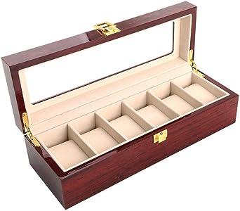 Caja De Reloj Pintura En Aerosol Caja De Reloj Caja De Almacenamiento De Luz Caja De Colección De Madera: Amazon.es: Relojes