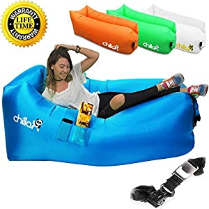 Black inflatable lounger currently fully inflated