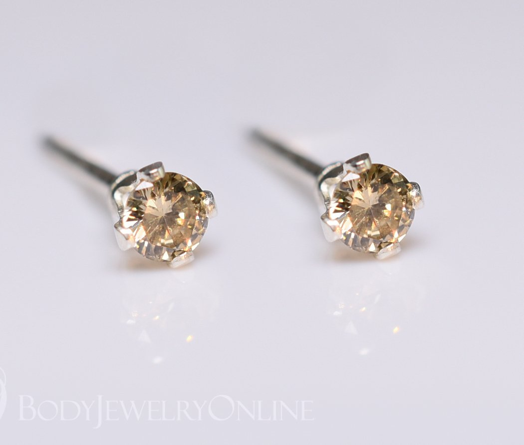 Genuine BROWN DIAMOND Earring Studs 2mm 0.08tcw Post 14k Solid Gold (Yellow, Rose or White), Platinum, Silver Lobe Cartilage Helix Tragus