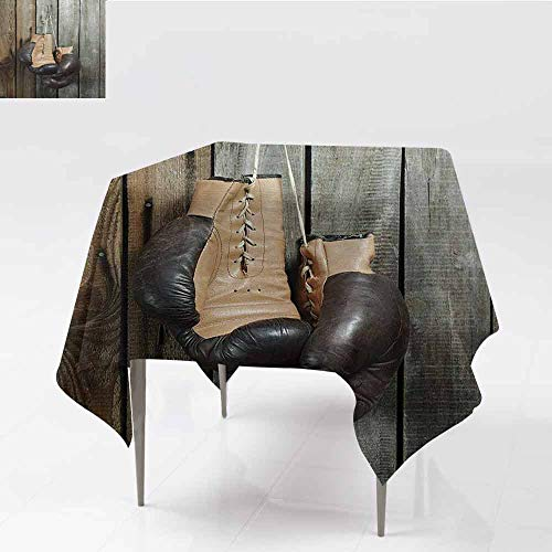 DILITECK Easy Care Tablecloth Vintage Vintage Boxing Gloves on Old Wooden Background Antique Equipment Decorative Photo Art and Durable W54 xL54 Brown]()