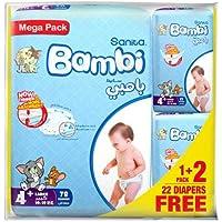 Sanita Bambi Baby Diaper Mega pack, Large+, 10-18kg (78+24 free) Count