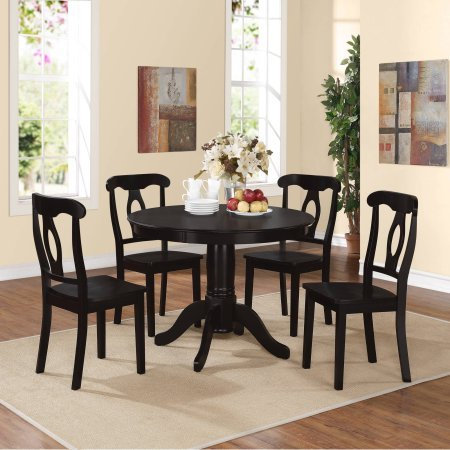 Aubrey 5-Piece Traditional Height Pedestal Dining Set (Black)